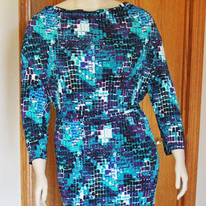 Fashion Bug Blue Purple Green Dress Plus Size 2X